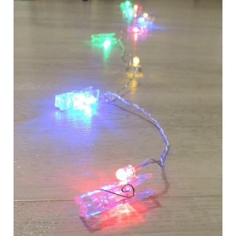 Guirlande pinces transparentes LED multicolore intérieure longueur 1.8m lumière fixe avec alim 24V BLACHERE JFP25C