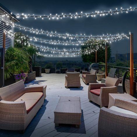 Guirlande solaire 400 led blanches décorative jardin - 12590