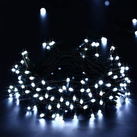 Guirlande Solaire Extérieure, 20M 200 LED Guirlande Lumineuse Solaire Etanche, 8 modes d'éclairage Lampe Décoratives pour Jardin, Patio, Clôture, Anniversaire, Mariage (Blanc)