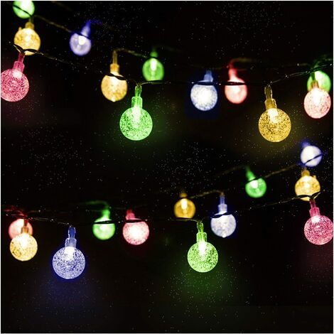 """main image of """"Guirlande Solaire Extérieure, 4.5m 30 LED Guirlande Lumineuse Boules Cristal avec 2 Modes d'éclairage Lumière Décoration pour Noël, Arbre, Jardin, Terrasse, Balcon, Multicolore"""""""