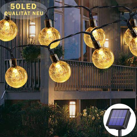 """main image of """"Guirlande solaire extérieure 50 LED 7 m blanc chaud, 8 modèles solaires, étanche, pour extérieur / intérieur, jardin, arbres, terrasse, Noël, mariage, fête"""""""