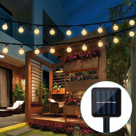 Guirlande solaire Jardin,6.5 m 30 boules de cristal étanche Guirlande lumineuse LED, 8 modes d'extérieur Starry lumières Guirlande lumineuse solaire, éclairage décoratif pour maison, jardin, fête, festival - Blanc chaud
