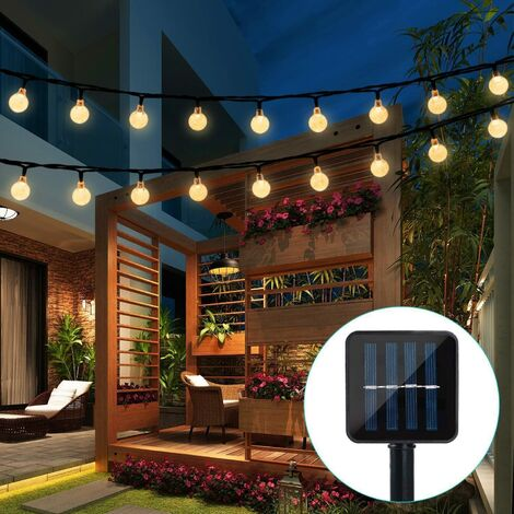 """main image of """"Guirlande solaire Jardin,6.5 m 30 boules de cristal étanche Guirlande lumineuse LED, 8 modes d'extérieur Starry lumières Guirlande lumineuse solaire, éclairage décoratif pour maison, jardin, fête, festival - Blanc chaud"""""""