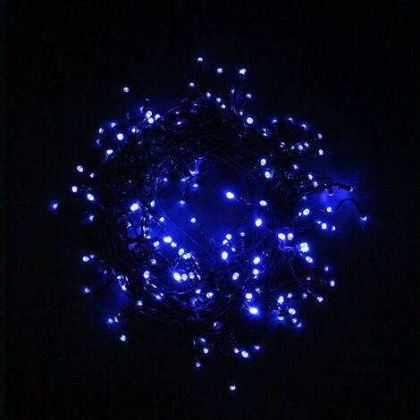 Guirlande Solaire LED Bleue 20M 200LED IP44, 8 Modes - Câble Vert