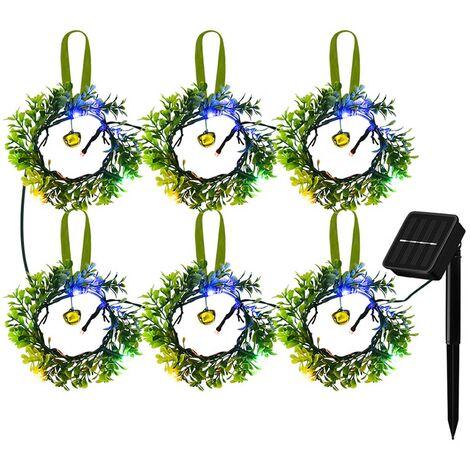 Guirlande solaire lumieres de decoration de Noel lumieres de decoration de paysage de jardin de cour 24 lumieres de chaine de couleur LED 8 modes d'eclairage
