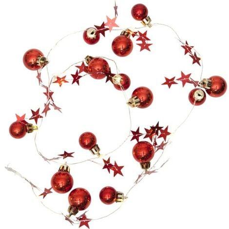 Guirlande sur piles LED blanc chaud Boule de Noel rouge   BS72807