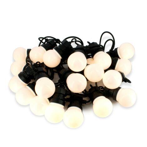 Guirlandes LED Guinguette de 10 mètres 20 Ampoules Blanc Chaud Extérieur