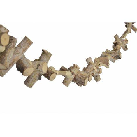 Guirnalda Colgante de Madera Natural para Navidad con Cuentas y Árboles. Diseño Navideño con estilo Rural/Hogareño - Hogar y Más
