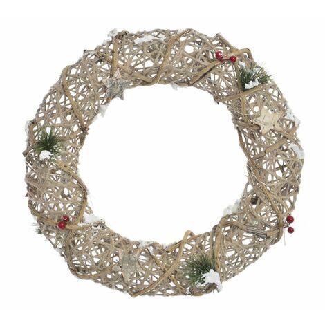 Guirnalda/Corona de Navidad con Luces LED Diseño Natural de Ratán. Ideal para decoración Navideña 40X40x8 cm.-Hogarymas-