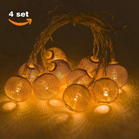 Guirnalda de 10 Luces LED, Estilo Dorado 10 x 3 cm, Funcionamiento con Pilas, Color Blanco cálido