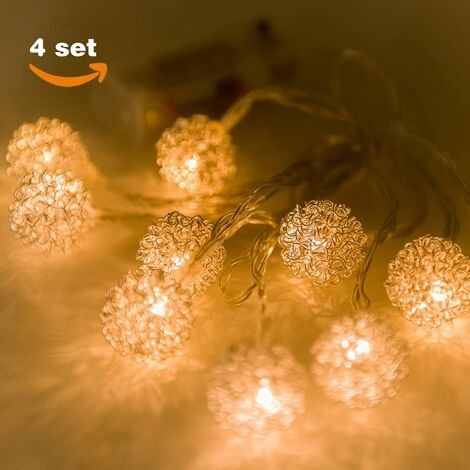 Guirnalda de 10 Luces LED, Estilo Redondo 10 x 2.5 cm, Funcionamiento con Pilas, Color Blanco cálido