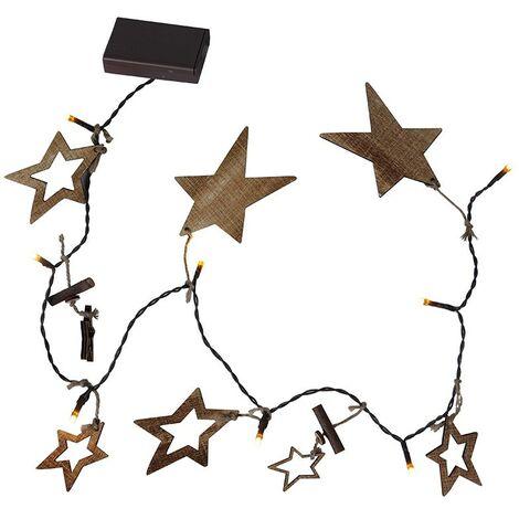 Guirnalda de estrellas de madera con pilas