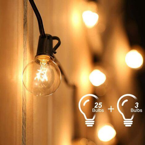 Guirnalda de luces, cuerda de luces conectables a 25 bombillas G40 de 7,62 M Guirnalda de luces impermeables para decoración de interiores y exteriores para jardín, patio, Navidad, fiesta, boda, con 25 bombillas de bola de color blanco cálido con 3 bombil