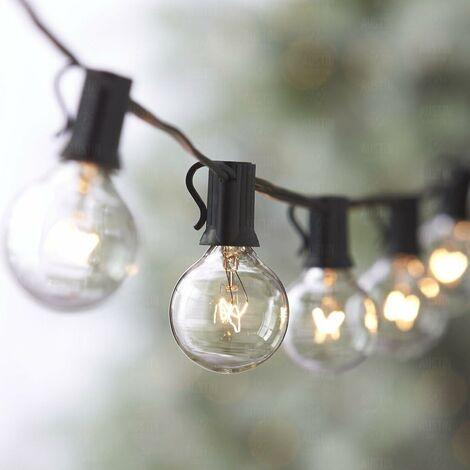 Guirnalda de luces, cuerda de luces conectables a 25 bombillas G40 de 7,62 m Impermeable Cadena de luces Decoración para exteriores e interiores para jardín, patio, Navidad, fiesta, boda - con 25 bombillas de bola de color blanco cálido