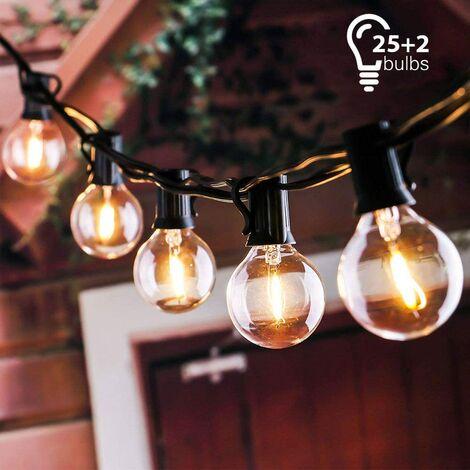 Guirnalda de luces, guirnalda de luces conectables a 25 bombillas G40 de 7,62 m Impermeable Guirnalda de luces para decoración de interiores y exteriores para jardín, patio, Navidad, fiesta, boda, con 25 bombillas de bola de color blanco cálido con 2 bomb