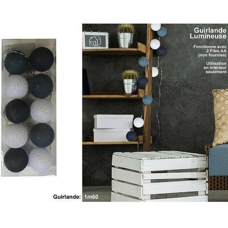 Guirnalda de luz 10 bolas gris oscuro / blanco