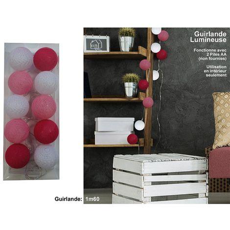 Guirnalda de luz 10 bolas rosas / blancas