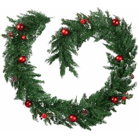 Guirnalda de navidad con bolas y piñas de abeto - rojo/verde