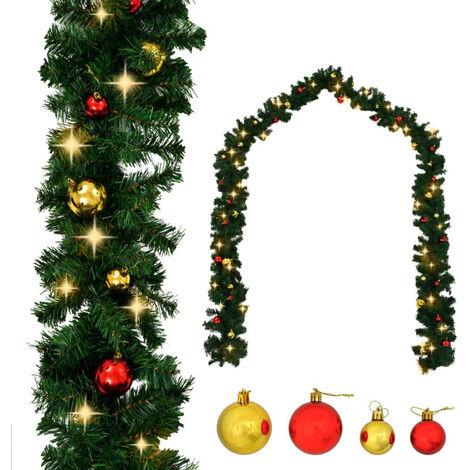 Guirnalda de Navidad decorada con bolas y luces LED 10 m