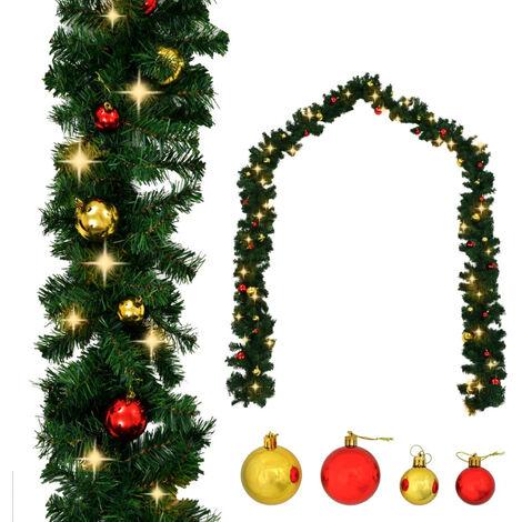 Guirnalda de navidad decorada con bolas y luces LED 20 m
