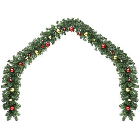 Guirnalda de Navidad decorada con bolas y luces LED 5 m