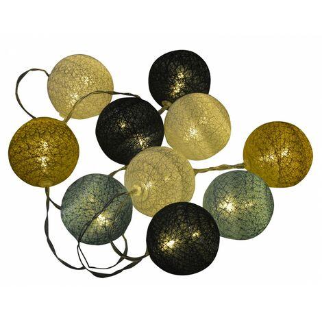 Guirnalda Decoración Habitación, Luces 10 Bolas Decorativas Led, Funciona con 3 pilas LR6/AA, Decoración Interior. 175cm ø6cm
