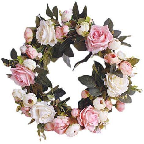 Guirnalda decorativa Guirnalda de pared Guirnalda hecha a mano para puerta exterior Guirnalda de flores de vid rosa Guirnalda de flores decorativas artificiales (Rosa rosa, Diámetro 35 cm)