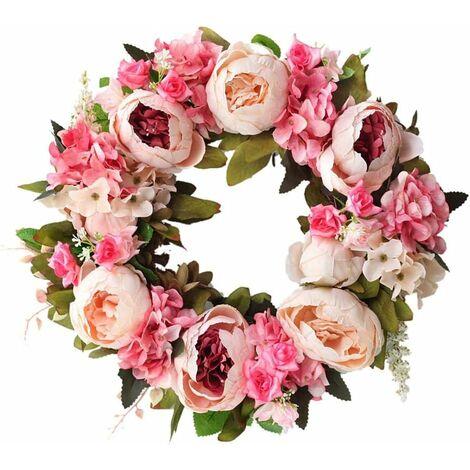 Guirnalda decorativa LITZEE, guirnalda de pared, guirnalda hecha a mano para puerta exterior, guirnalda de peonía, guirnalda de vid, guirnalda de paisajismo decorativo floral artificial