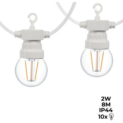 Guirnalda LED cable blanco 10 bombillas LED 3000ºK - 8 metros