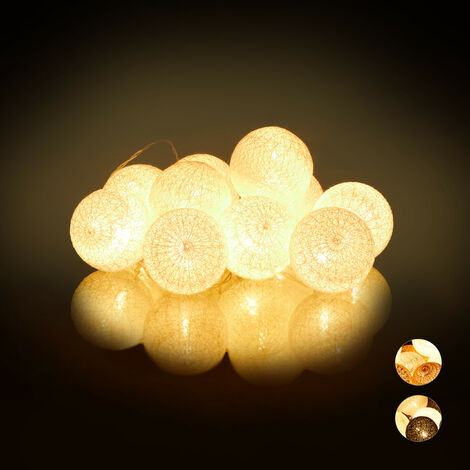 Guirnalda Luces con 10 Bolas LED a Pilas, Algodón-Poliestireno, Blanco, 6 cm de diámetro