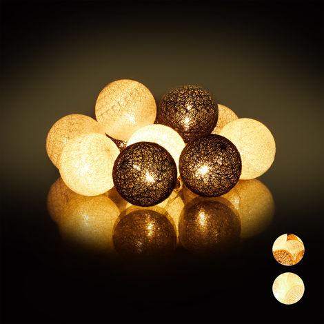 Guirnalda Luces con 10 Bolas LED a Pilas, Algodón-Poliestireno, Blanco-Gris-Negro, 6 cm de diámetro