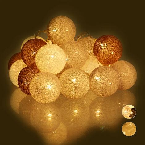 Guirnalda Luces con 20 Bolas LED a Pilas, Algodón-Poliestireno, Blanco-Gris-Marrón, 6 cm de diámetro