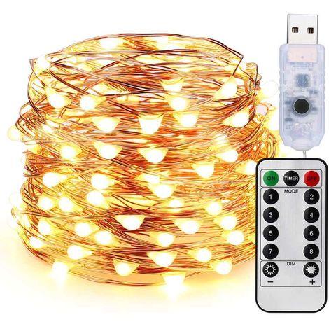 Guirnalda Luces Exterior 100 LED 10M USB - Decoración Jardin Bodas Navidad - Cadena de Luces