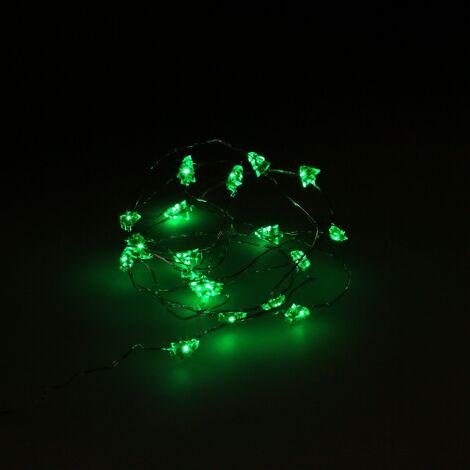Guirnalda luces navidad arboles 20 leds color verde. luz navidad interiores ip20 a pilas 3aa (no incluida)