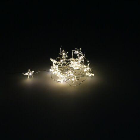 Guirnalda Luces Navidad Estrellas 20 Leds Color Blanco Calido.Luz navidad interiores y exteriores IP44 A Pilas 3AA (No Incluida)