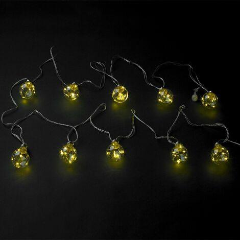 Guirnalda Luces Navidad Jardin Decorativa 10 Bombillas 60 microleds. Luz Navidad Interiores y Exteriores IP44