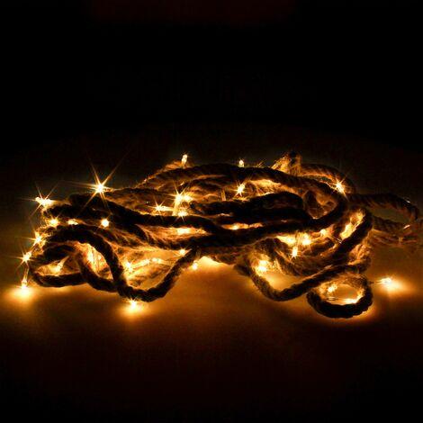 Guirnalda Luces Navidad Led Cuerda 100 Microled Blanco Calido Luz Navidad Interiores y Exteriores IP44