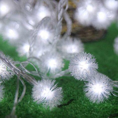 Guirnaldas de bolas de nieve LITZEE, 20 luces LED de cadena de Navidad con control remoto, decoración impermeable para interior y exterior, árbol de Navidad para fiestas de bodas (blanco frío)