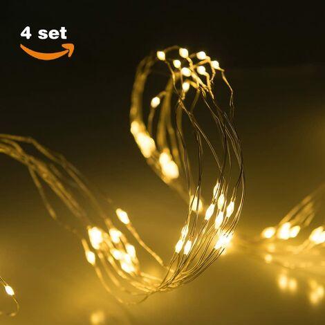 Guirnaldas de luces LED de Navidad, 10 LED en cada rama, 10 tiras de luces, Color blanco cálido [Clase de eficiencia energética A+++]