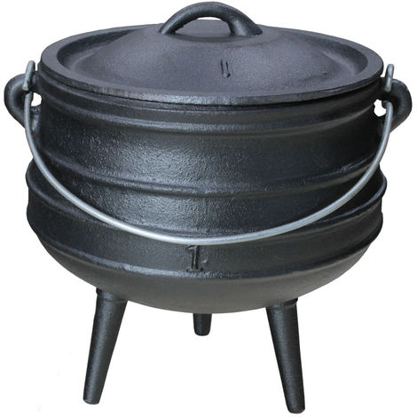 Gusseisen Dutch Oven African Pott Feuertopf Grill Lagerfeuer Topf Eingebrannt 1 L Grillmaster