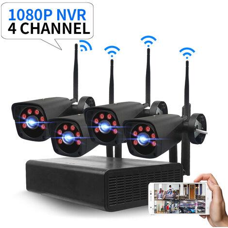 GUUDGO 4CH 2.0MP 1080P système de Surveillance CCTV sans fil système de caméra de sécurité Kit de caméras de surveillance CCTV P2P