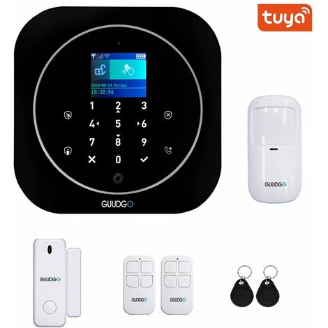 GUUDGO Tuya APP Smart WiFi GSM Home Security Alarm System 433MHz Alarm Detector Compatible with Alexa Google Home IFTTT (Black)