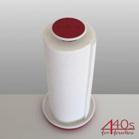 guzzini Küchenpapierhalter PUSH & BLOCK rot-weiß H ca. 28 cm | FG-2924.00-55