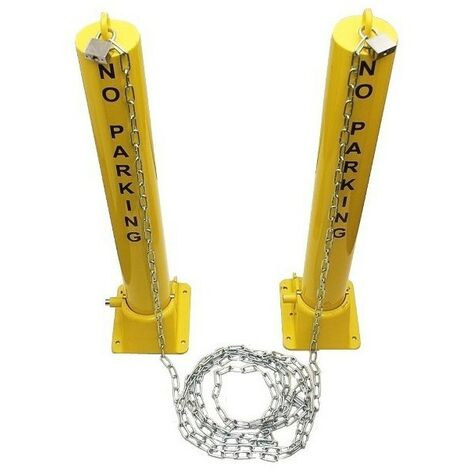 H/D Fold Down Security Post, No Parking Logo & Chain (001-1651)