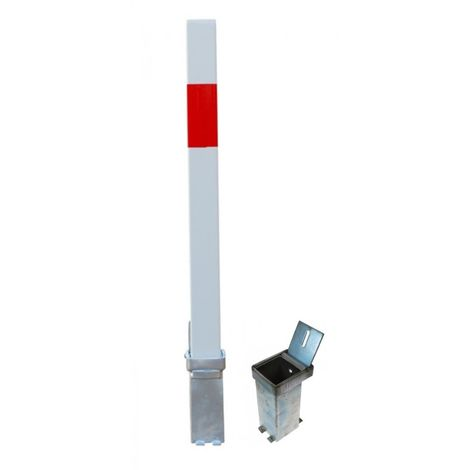 H/D White & Red Removable Security Post & 2 x Ground Bases (001-3830 K/D, 001-3820 K/A).