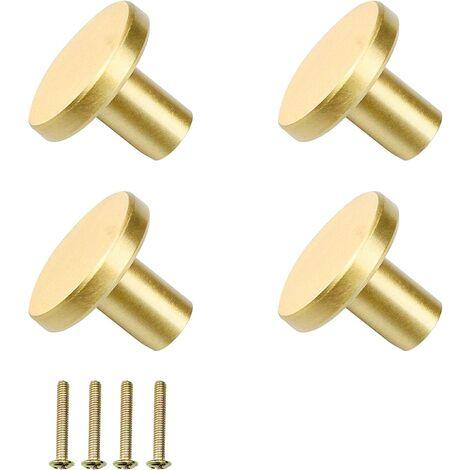 """main image of """"- H Lot de 4 poignées rondes en laiton doré (25 mm x 20 mm) pour tiroir de placard avec 4 vis pour porte d'armoire, décoration de la maison, portes d'armoire et décoration de la maison"""""""
