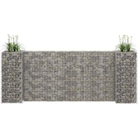H-Shaped Gabion Planter Steel Wire 260x40x100 cm - Silver