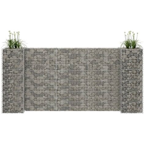 H-Shaped Gabion Planter Steel Wire 260x40x120 cm - Silver