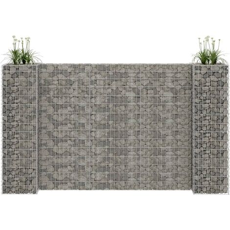 H-Shaped Gabion Planter Steel Wire 260x40x150 cm - Silver