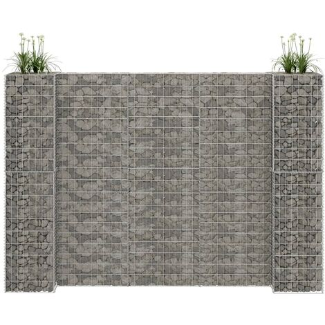 H-Shaped Gabion Planter Steel Wire 260x40x180 cm - Silver